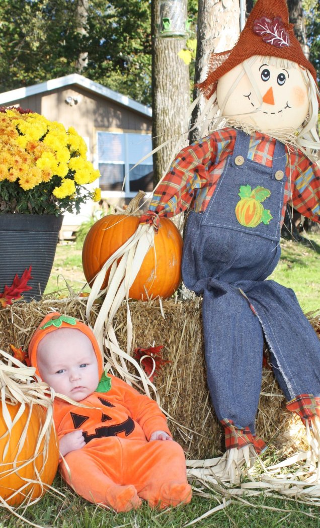 Baby poses for Halloween picture. Hay bales, pumpkins, scarecrows and mums are all used to decorate for fall